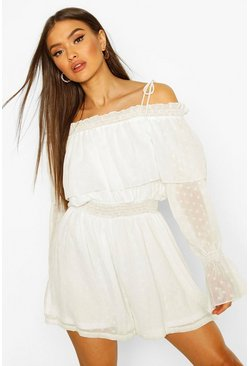 Ivory Dobby Mesh Off The Shoulder Playsuit