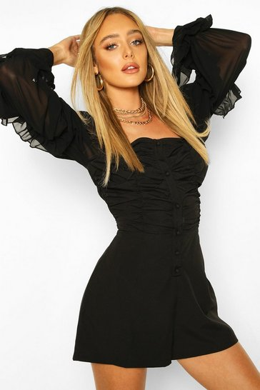 Black Ruched Front Volume Sleeve Playsuit