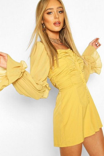 Mustard Ruched Front Volume Sleeve Playsuit