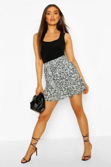Dusty blue Flocked Organza Ruched Mini Skirt