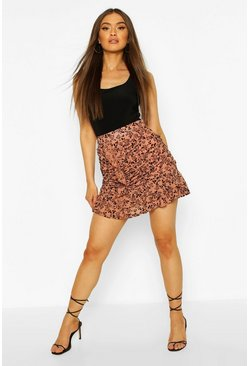 Rose Flocked Organza Ruched Mini Skirt