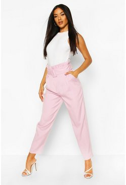 Lilac Belted Paperbag Waist Straight Leg Pants