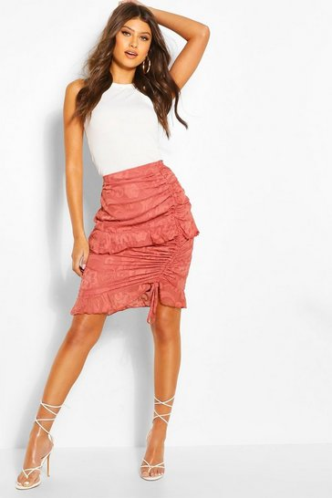 Rose Textured Floral Ruched Ruffle Mini Skirt