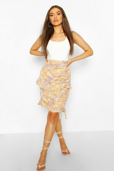 Peach Floral Ruched Ruffle Mini Skirt