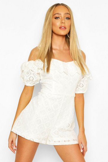 Ivory Lace Puff Sleeve Sweetheart Playsuit