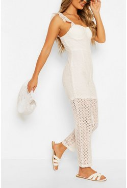 Ivory Broderie Anglais Slim Leg Jumpsuit