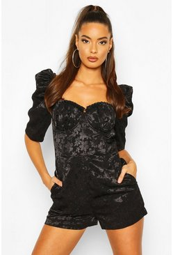 Black Jacquard Sweetheart Neck Romper