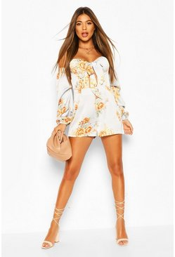 Baby blue Floral Cupped Puff Sleeve Playsuit