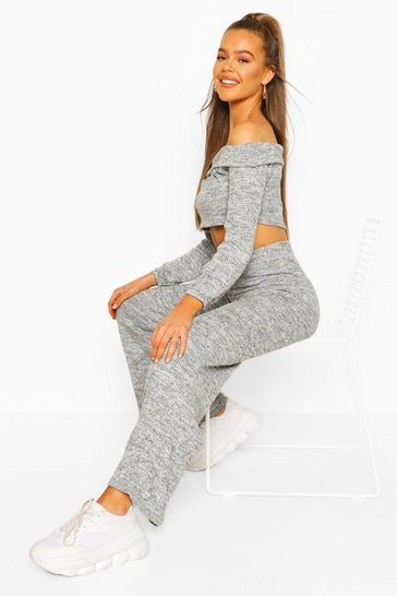 Grey Brushed Marl Off Shoulder Co-ord