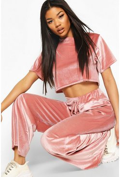 Rose Velour Crop T-Shirt & Wide Leg Co-ord