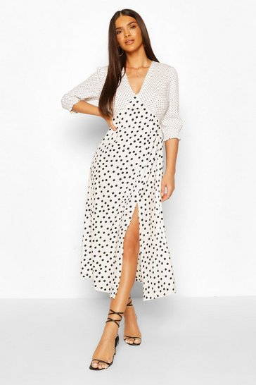 White Mixed Polka Dot V neck Split Midaxi Dress