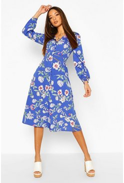 Blue Floral Button Detail 3/4 Sleeve Midi Dress