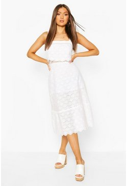White Broderie Lattice Detail Layered Midi Dress