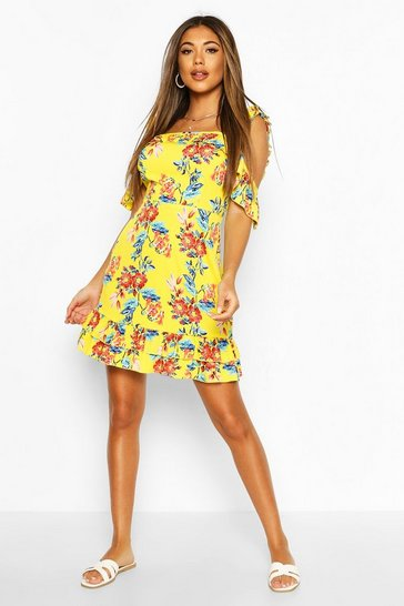 Yellow Floral Ruffle Cold Shoulder Drop Hem Mini Dress
