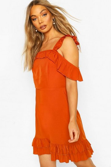Rust Ruffle Strap Woven Mini Dress