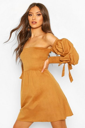 Tan Linen Off Shoulder Shirred Sleeve Mini Dress