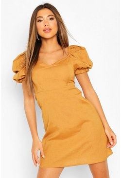 Tan Linen Puff Sleeve A Line Mini Dress