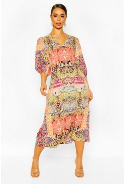 Orange Paisley Puff 3/4 Sleeve Maxi Dress