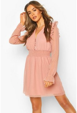 Blush Dobby Button Shirred Waist Skater Dress