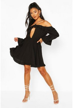 Black Off The Shoulder Ruffle Keyhole Skater Dress