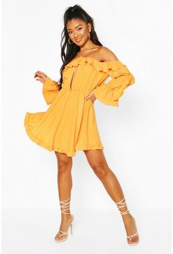 Orange Off The Shoulder Ruffle Keyhole Skater Dress