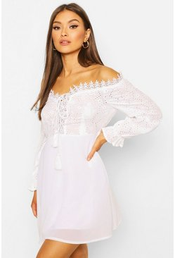 White Broderie Off The Shoulder Lace Up Skater Dress
