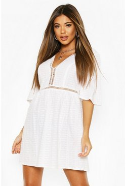 White Embroidered Broderie Flute Sleeve Skater Dress