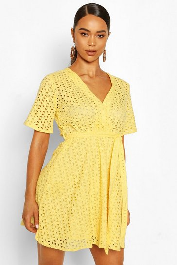Yellow Broderie Wrap Kimono Sleeve Belted Skater Dress