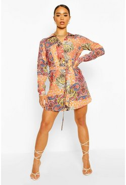 Orange Paisley Long Sleeve Belted Shirt Dress