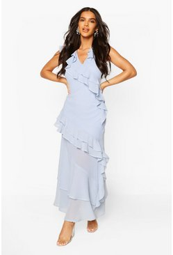 Blue Occasion Ruffle Maxi Dress