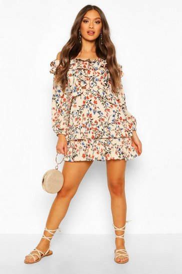 Stone Floral Off Shoulder Ruffle Detail Mini Dress