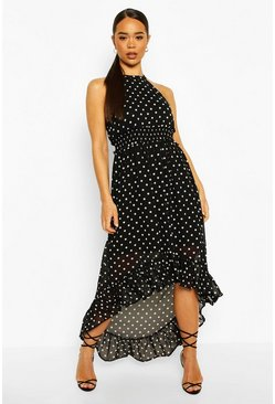 Black Polka Dot High Neck Shirred Waist Maxi Dress