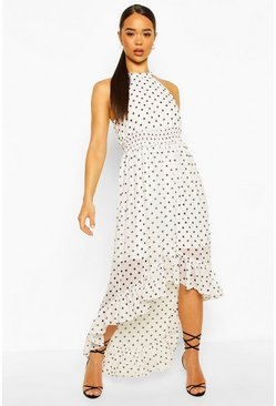 Polka Dot High Neck Shirred Waist Maxi Dress, White