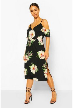 Black Floral Cold Shoulder Midi Dress