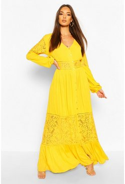 Mustard Crochet Insert Maxi Dress