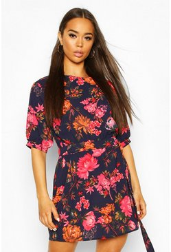 Navy Woven Floral Puff Sleeve D-Ring Detail Mini Dress