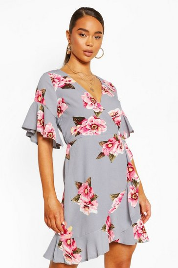 Silver grey Ruffle Hem Floral Print Tea Dress