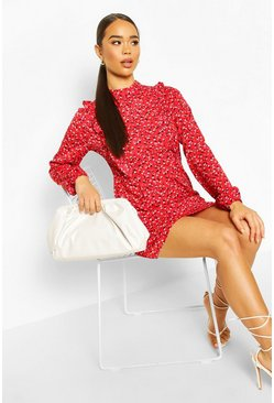 Ruffle Detail High Neck Floral Skater, Red
