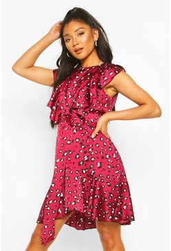 Berry Leopard Ruffle Front Detail Skater