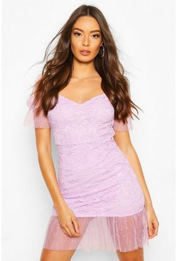 Lilac Lace Polka Dot Mesh Frill Hem Mini Dress