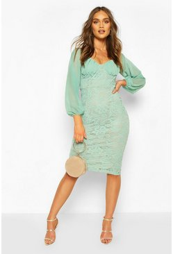 Light green Mesh Cupped Lace Bodycon Midi Dress