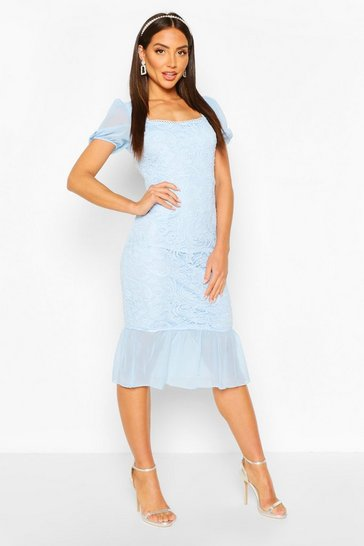 Pastel blue Lace Frill Hem Bodycon Midi Dress