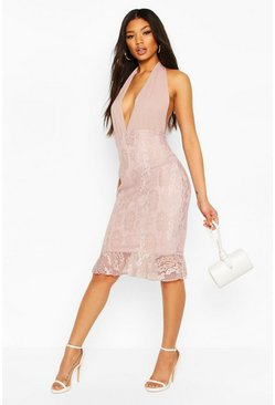 Mushroom Lace Plunge Front Halter Neck Dress