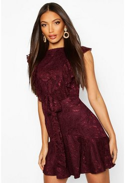 Plum Lace Tie Ruffle Skater Dress