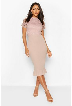 Mushroom Lace High Neck Ruffle Hem Midi Dress