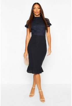 Navy Lace High Neck Ruffle Hem Midi Dress