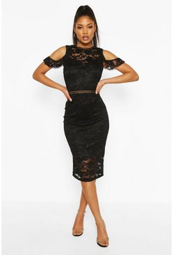 Black Lace Crochet Sleeve Detail Midi Dress