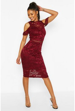 Wine Lace Crochet Sleeve Detail Midi Dress