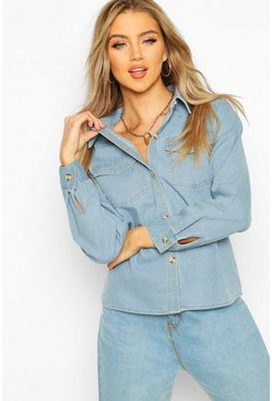Light blue Jeansskjorta i westernstil