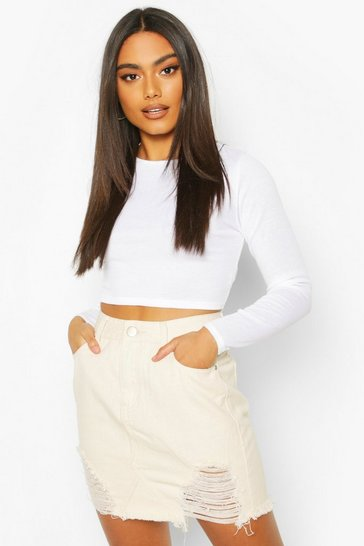 Ecru High Waisted Distressed Denim Skirt